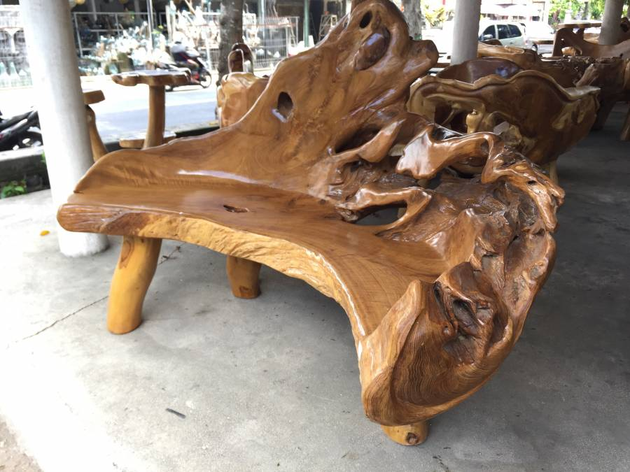 bleached teak root coffee table, round – homenature