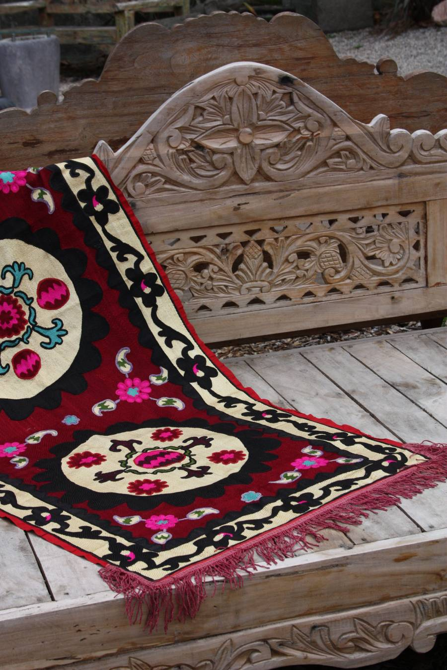 hand embroidered rare antique suzani from Uzbekistan in los angeles